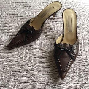Michael Kors brown leather mule sandals, size 8.5